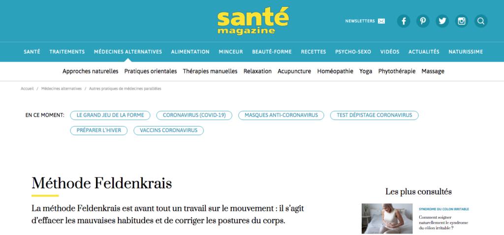 Article Santé Mag Feldenkrais